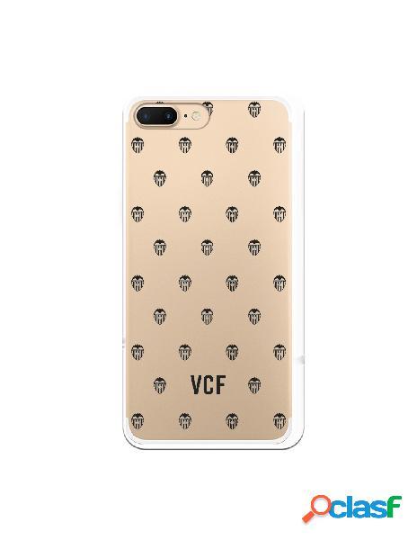 Carcasa para iphone 8 plus oficial del valencia cf escudos negros clear - licencia oficial del valencia cf