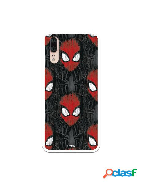 Funda para huawei p20 oficial de marvel spiderman caras fondo negro - marvel