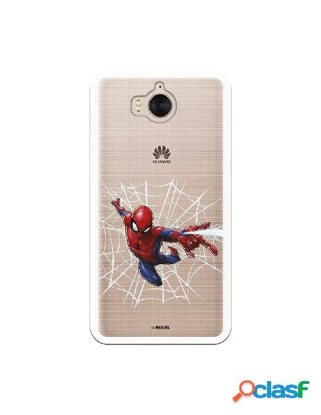 Funda para huawei y6 2017 oficial de marvel spiderman telaraña silueta - marvel