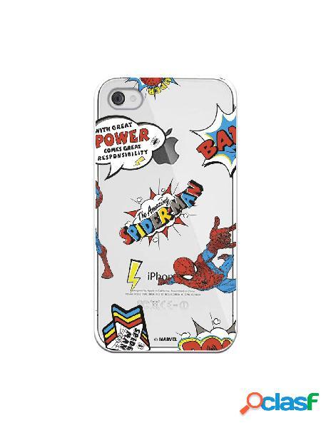 Funda para iphone 4s oficial de marvel spiderman cómic transparente - marvel