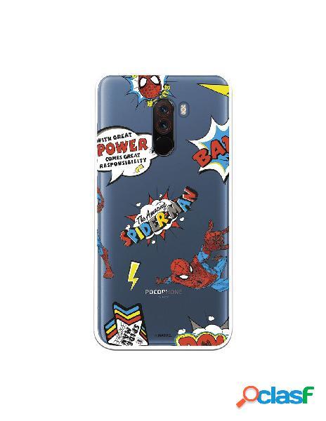 Funda para xiaomi pocophone f1 oficial de marvel spiderman cómic transparente - marvel