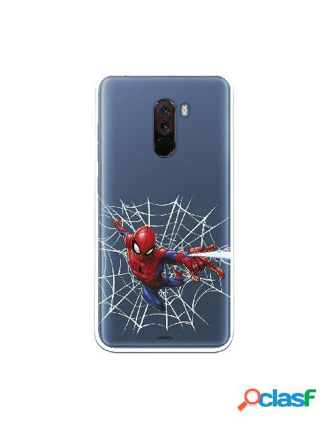 Funda para xiaomi pocophone f1 oficial de marvel spiderman telaraña silueta - marvel