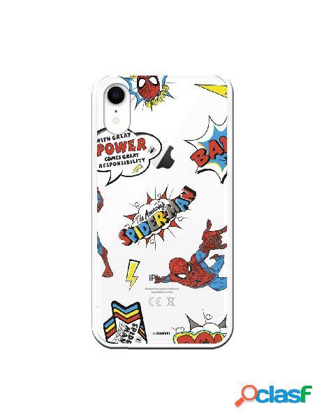Funda para iphone xr oficial de marvel spiderman cómic transparente - marvel