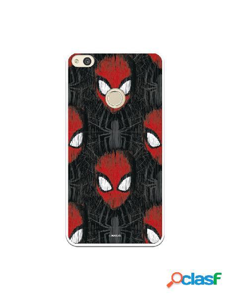 Funda para huawei p8 lite 2017 oficial de marvel spiderman caras fondo negro - marvel