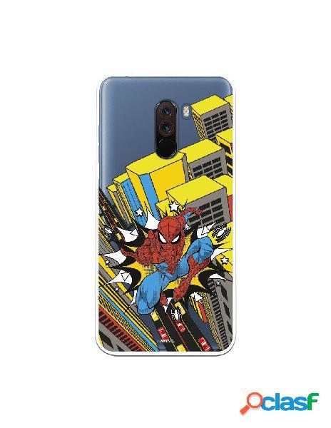 Funda para xiaomi pocophone f1 oficial de marvel spiderman ciudad transparente - marvel