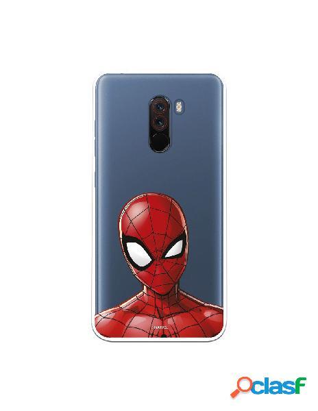 Funda para xiaomi pocophone f1 oficial de marvel spiderman silueta transparente - marvel
