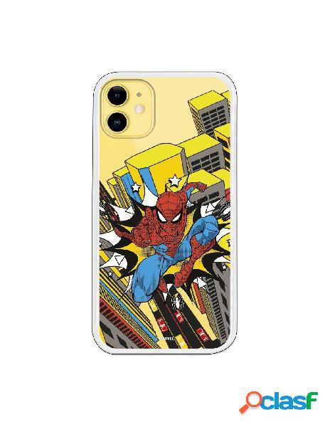 Funda para iphone 11 oficial de marvel spiderman ciudad transparente - marvel