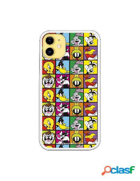 Funda para iphone 11 oficial de warner bros personajes cuadrícula - looney tunes