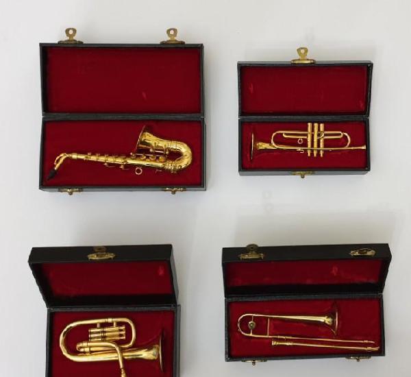 Lote 4 instrumentos viento de metal en miniatura 13-15 cm