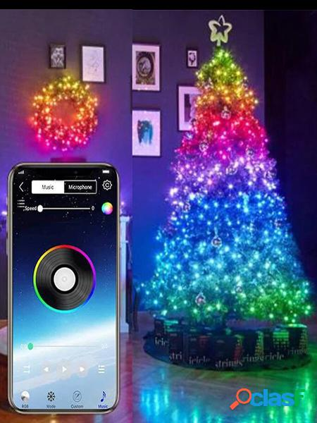 2020 christmas usb fairy lights led string lights music sync bluetooth app teléfono interior al aire libre luces centell