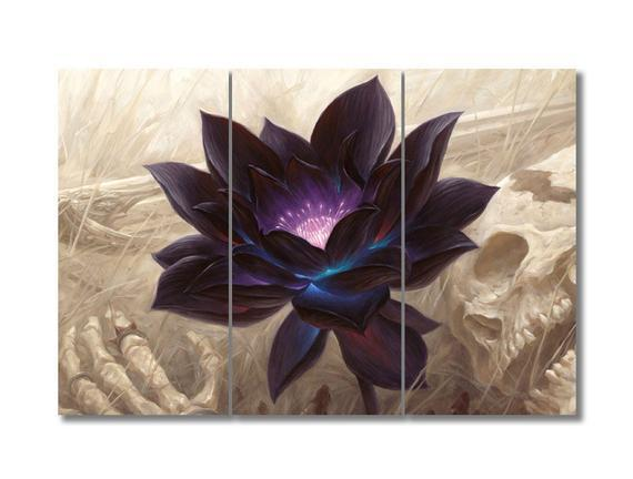 Black lotus, black lotus canvas print, black lotus wall art,