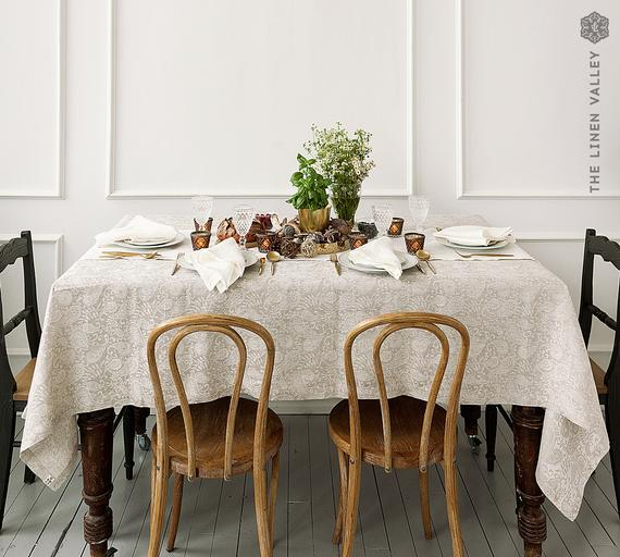 Mantel floral natural linen- paisley lujoso aspecto sedoso