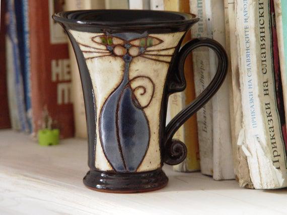 Taza divertida, taza de gato hecha a mano, taza de