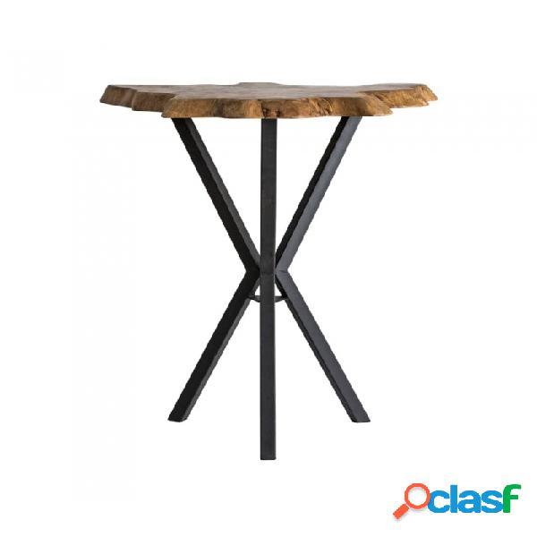 Mesa bar negro natural madera y teka 90 x 75 105