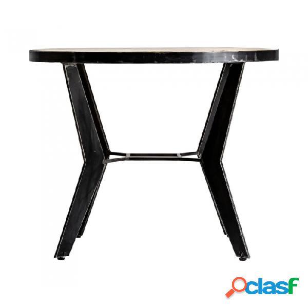 Mesa bar negro natural hierro y madera industrial 80 x 73