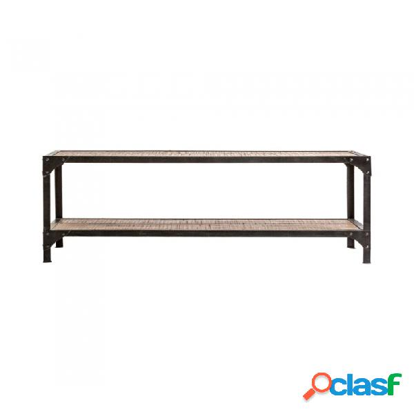 Mesa centro negro hierro y madera industrial 135 x 60 50