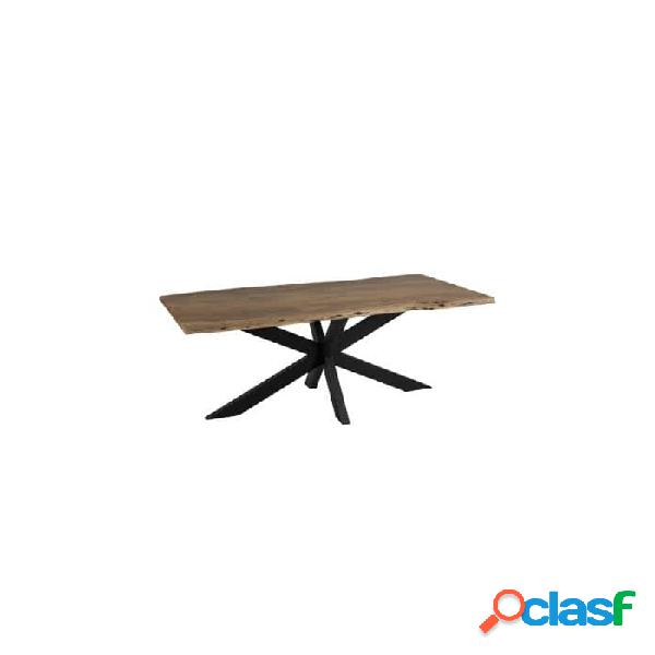 Mesa comedor negro natural metal y madera 180 x 90 77