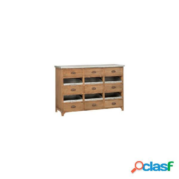 Cómoda natural gris madera y metal 1145 x 405 90