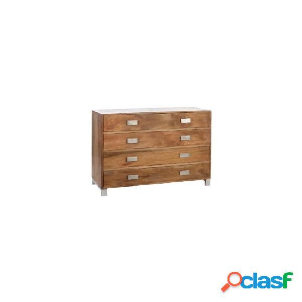 Cómoda natural plata madera y metal 110 x 45 90