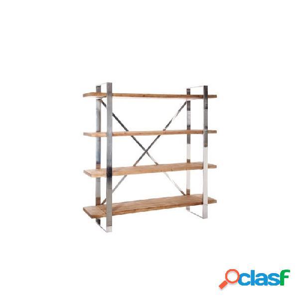 Estantería natural plata madera y metal 150 x 40 180