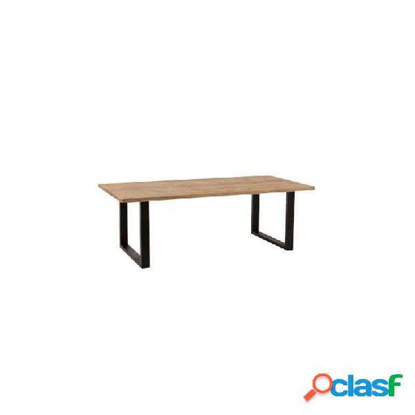 Mesa comedor natural negro madera y mango 190 x 90 78