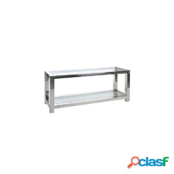Consola plata cristal acero y 140 x 40 70