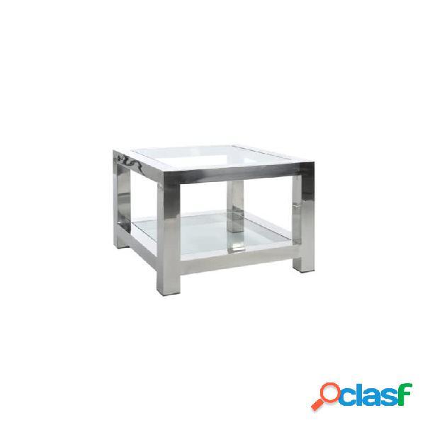 Mesa auxiliar plata cristal acero y 60 x 50