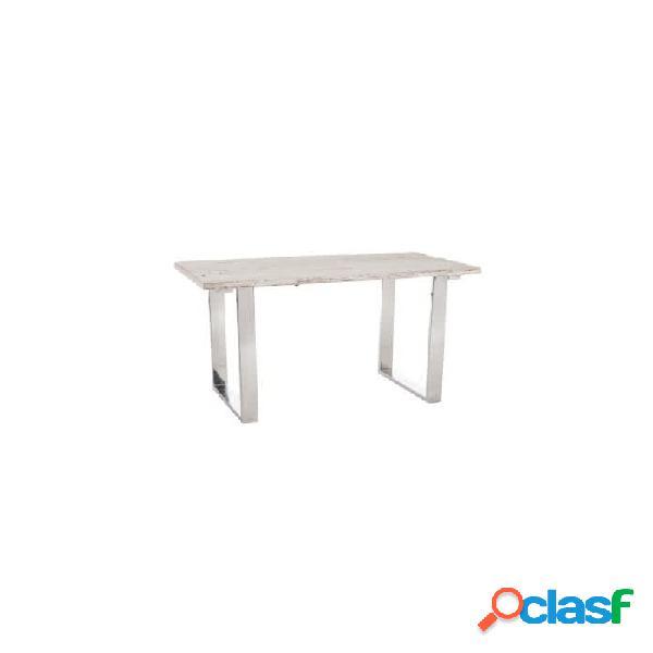 Mesa despacho blanco cristal metal y madera 130 x 70 73
