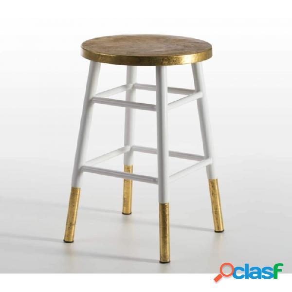 Taburete blanco dorado madera moderno 36x36x60