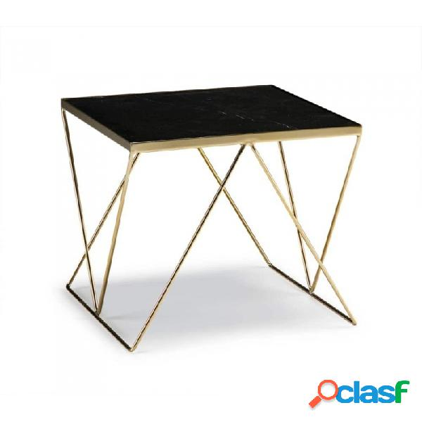 Mesa auxiliar negro dorado marmol y metal moderno 45x45x45