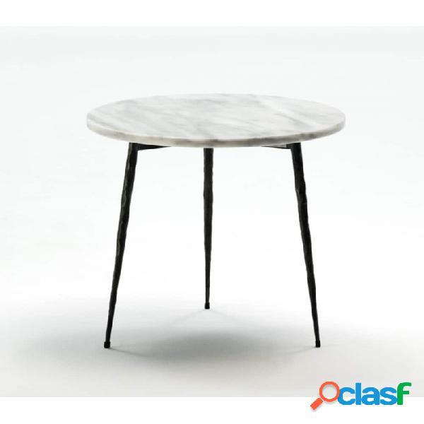 Mesa auxiliar blanco metal y marmol moderno 40x40x40