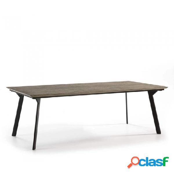 Mesa comedor gris metal y madera 200x90x76
