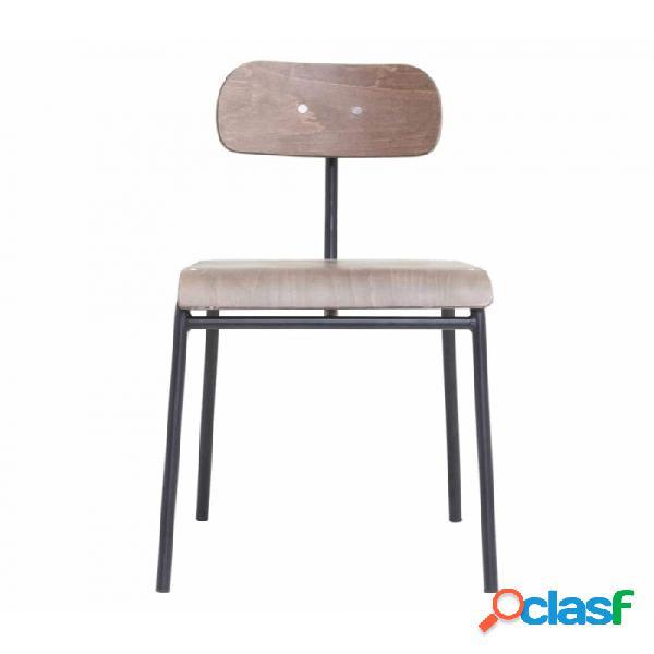 Silla marron madera y metal nordico l: 41.5, w: 41, seat height: 45