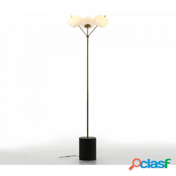 Lampara pie negro cristal blanco metal y 40x40x175