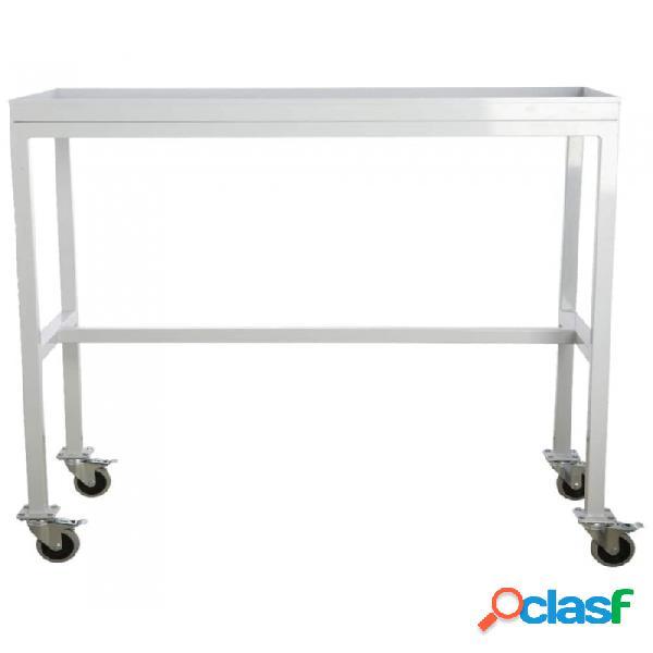 Mesa auxiliar gris acero industrial