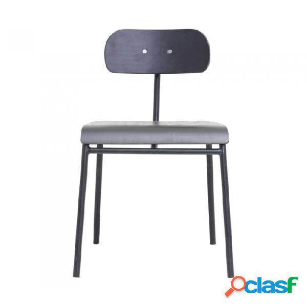 Silla negro madera y metal nordico l: 41.5, w: 41, seat height: 45