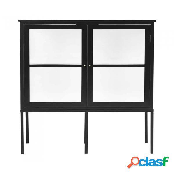 Aparador negro madera y vidrio nordico l: 120, w: 40, h: 135