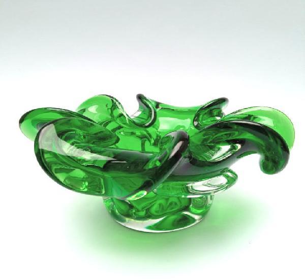 Bol cristal murano verde e incoloro de pétalos