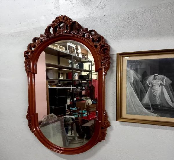 Espejo de madera maciza vintage tallado antiguo perfecto