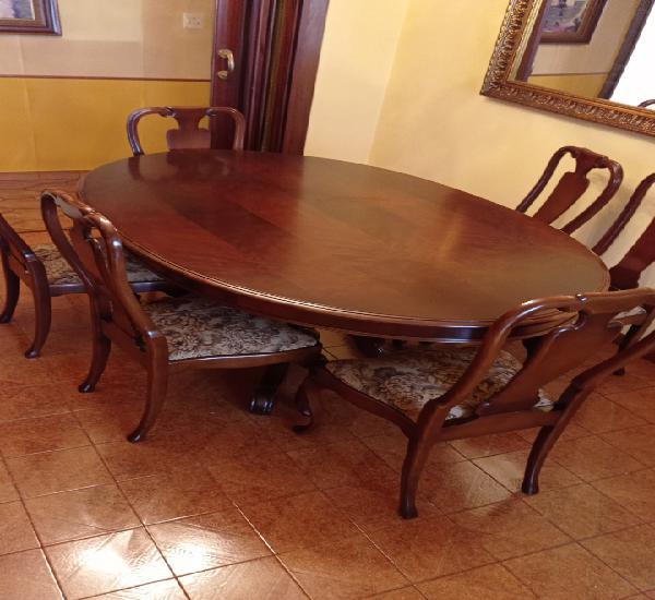 Mesa comedor maciza y seis sillas