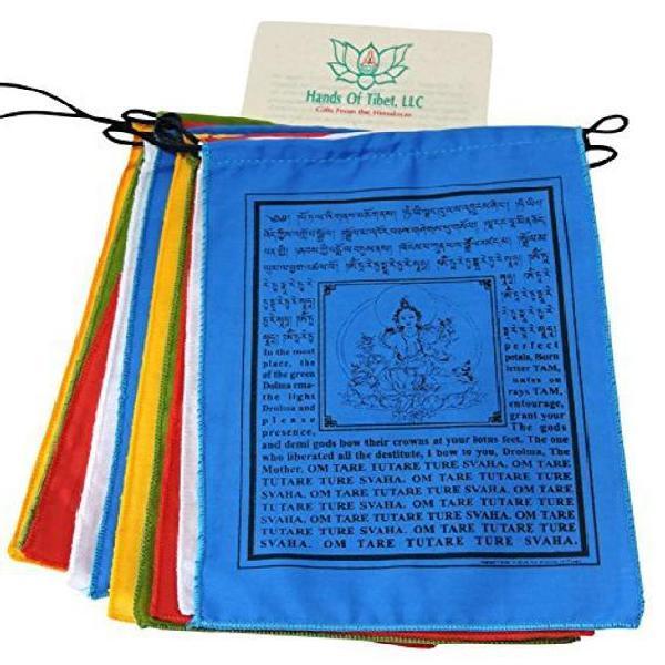 Hecho a mano verde tara oración banderas tibetanas con