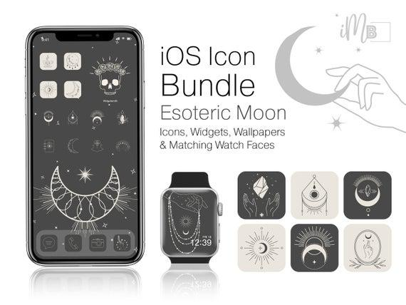Ios 14 icons boho bundle - esoteric moon iphone home screen