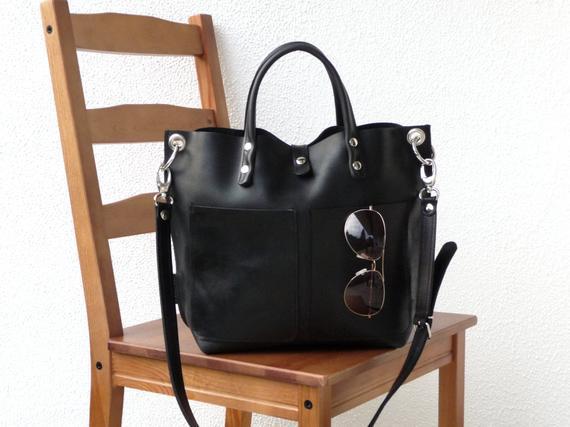 Bolso de cuero negro, pequeño comprador de cuero, bolso de