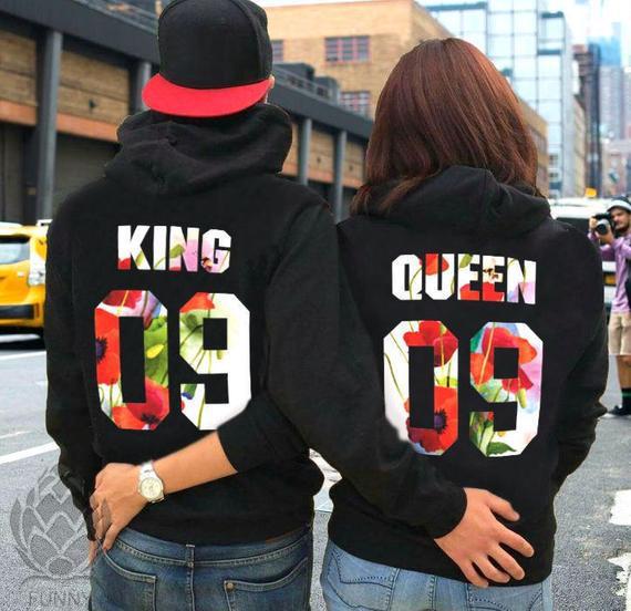 Parejas sudaderas con capucha parejas suéteres king y queen