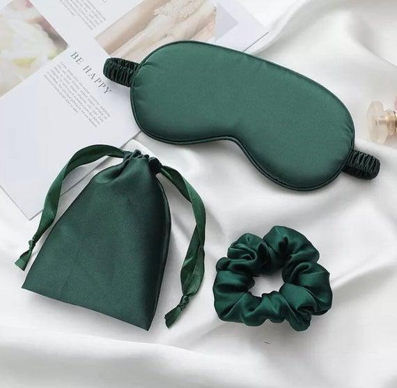 Uk luxury pure organic mulberry green silk eye mask,