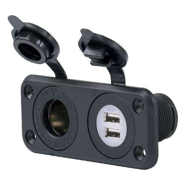 Marinco cargador usb dual y receptáculo de 12v sealink