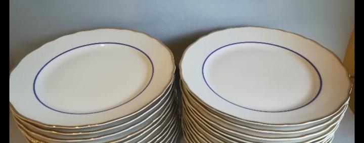Vajilla de porcelana alemana 57 piezas, blanco dorado y azul