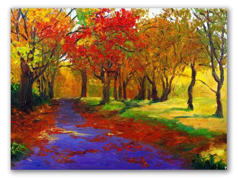 Atardecer de otoño, óleo de paisaje
