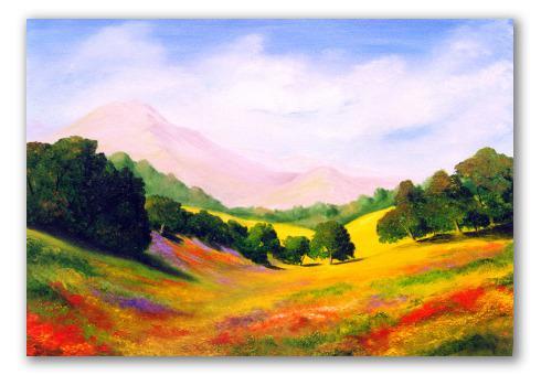 El valle, óleo de paisaje