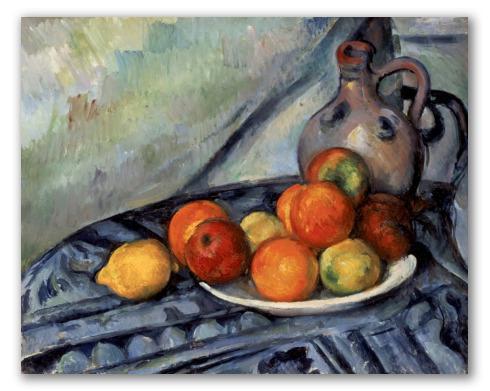 Fruta y jarra en una mesa, cézanne